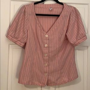 Cute pink and blue stripe short sleeve button up